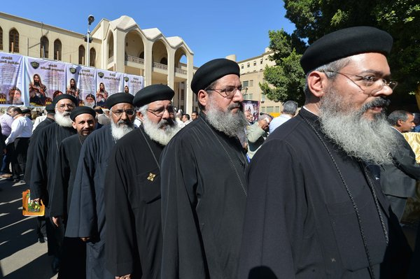 Egyptian Coptic Christian clergy queue to vote for their new spiritual leader at Saint Mark&#39;s Coptic Cathedral in Cairo, Oct. 29, 2012.