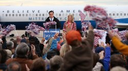 Republican presidential candidate Mitt Romney at a campaign rally Saturday in Newington, New Hampshire.