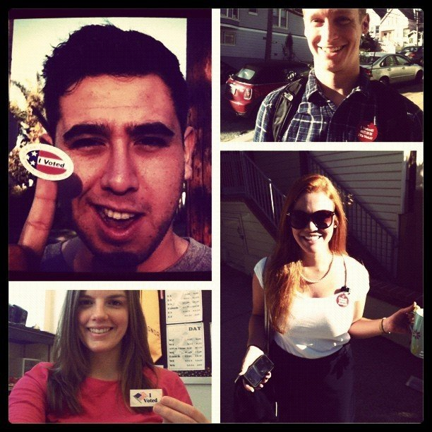 A photo of voters on Election Day, counterclockwise from upper left: Oscar Perez, Molly Jepsen, Caryn Voskuil and Will Eden
