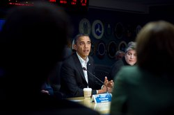 Before hitting the campaign trail Saturday, President Barack Obama attended a briefing on Hurricane Sandy relief efforts with Homeland Security Secretary Janet Napolitano at the Federal Emergency Management Agency&#39;s (FEMA) headquarters in Washington, D.C.