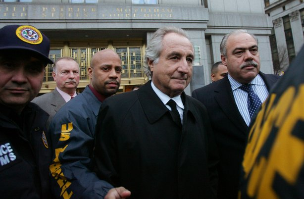Bernard Madoff is taken into custody by law enforcement officials, 2008