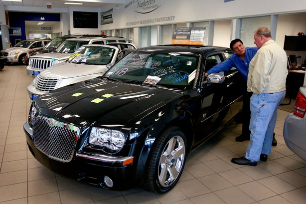 Chrysler products are offered for sale at Napleton's Northwestern Chrysler dealership May 13, 2009 in Chicago, Illinois.