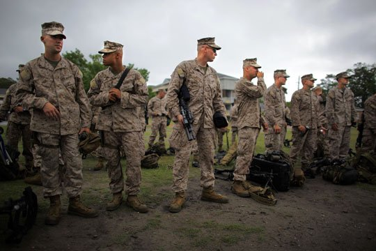 Marines prepare for deployment as part of the 2nd Marine Expeditionary Brigade, the first major deployment of U.S. Marines into southern Afghanistan.