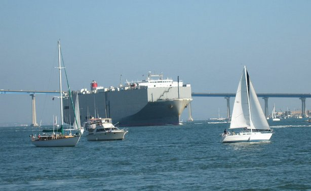A cargo ship moves through San Diego Bay.