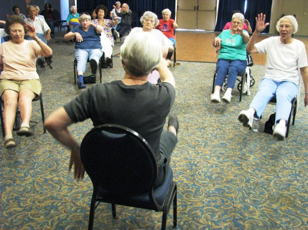 Seniors take part in an exercise class twice a week at the College Avenue Older Adult Center.
