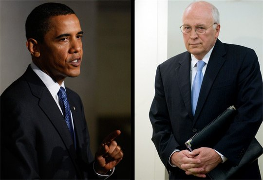 In dramatic, back-to-back speeches Thursday, President Obama (left) and former Vice President Cheney sparred in a battle to control the story of America's post-Sept. 11 policies. AP/AFP/Getty Images