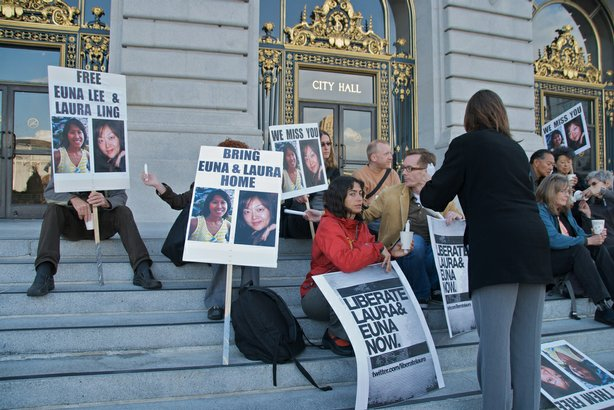 Supporters of Euna Lee and Laura Lings hold a vigil June 3, 2009 at San Francisco City Hall.