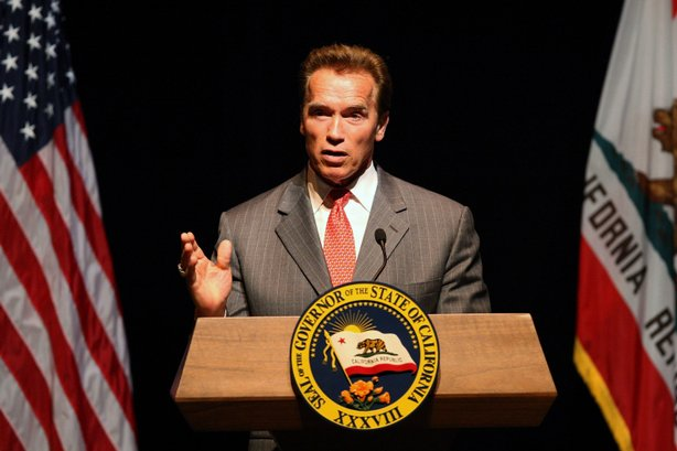 Gov. Arnold Schwarzenegger speaks on the status of the state budget at the California Center for the Arts on June 12, 2009 in Escondido, California.