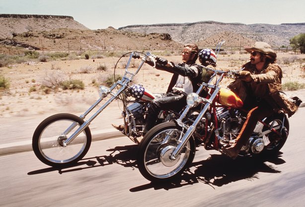 "Dennis Hopper and Peter Fonda hit the open road in the newly restored print of the counterculture cult hit ""Easy Rider"""