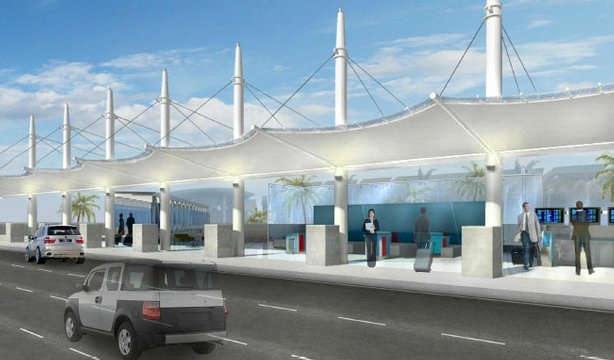A rendering of what the planned departure curb will look like when the renovations of Lindbergh Field's Terminal 2 are complete. A two story road will be built in front of the terminal. Departing passengers will be dropped off on the upper level. Arriving passengers will emerge from the airport on the lower level.