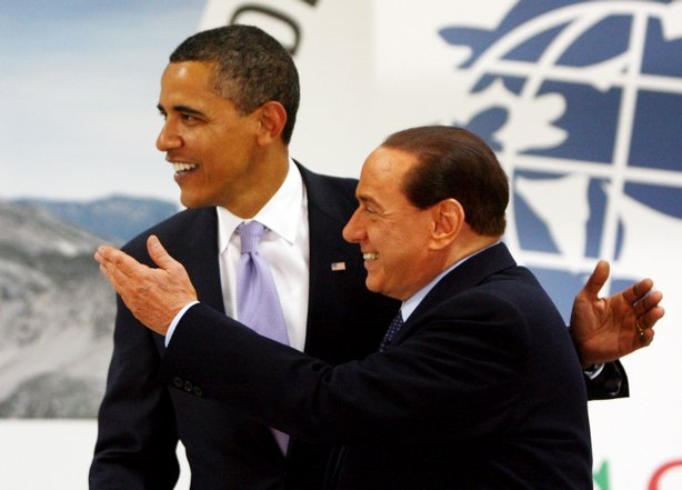 U.S. President Barack Obama and Italian Prime Minister Silvio Berlusconi greet one another at the Guardia Di Finanza School of Coppito on July 8, 2009 in L&#39;Aquila, Italy. 