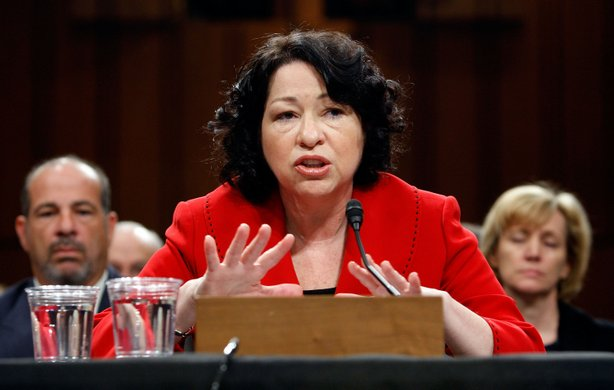 Supreme Court nominee Judge Sonia Sotomayor answers questions from Sen. Patrick Leahy during the second day of her confirmation hearings on Capitol Hill July 14, 2009 in Washington, DC.