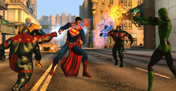 Screenshot of Superman taking on a gang of villains from the game DC Universe Online.