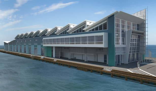 A computer-generated rendering of what the finished cruise ship terminal will look like in December 2010. Today marked the groundbreaking for the new Broadway Cruise Ship Terminal.