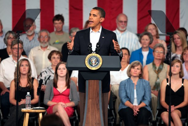 U.S. President Barack Obama speaks during a health care town hall meeting in the Central High School gym on August 15, 2009 in Grand Junction, Colorado.