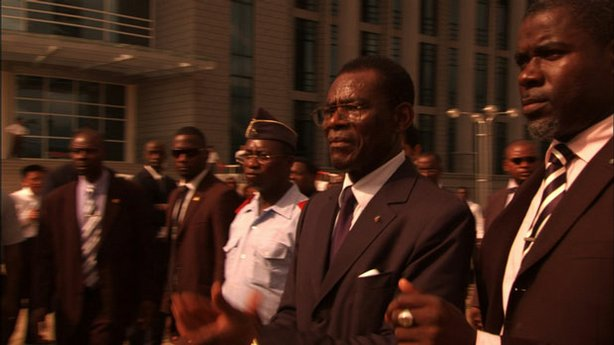 President Teodoro Obiang (second from right) of Equatorial Guinea during his birthday celebration in the capital city, Malabo.