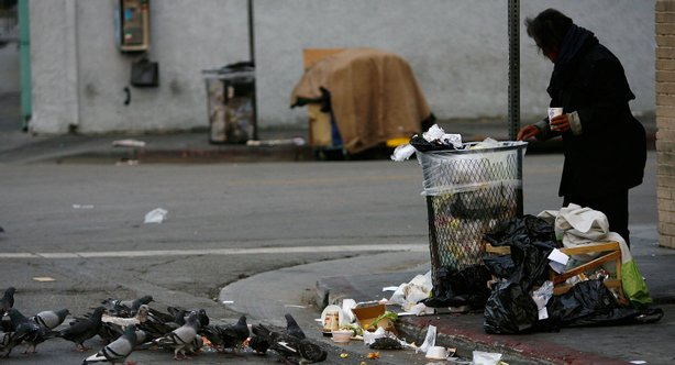 Pigeons feed on scraps of a pizza as a homeless person looks for food in a trash can.