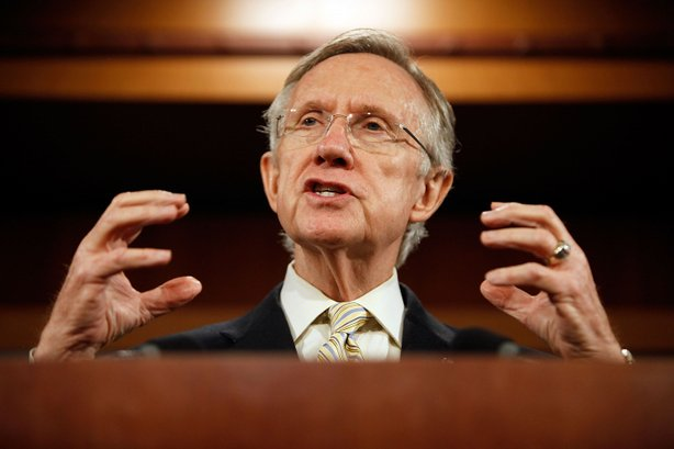 Senate Majority Leader Sen. Harry Reid (D-NV) holds a news conference to announce the inclusion of the &#39;public option&#39; in the Senate&#39;s version of the health care reform legislation October 26, 2009 in Washington, DC. Reid said that states would be able to opt out of the public option until 2014.