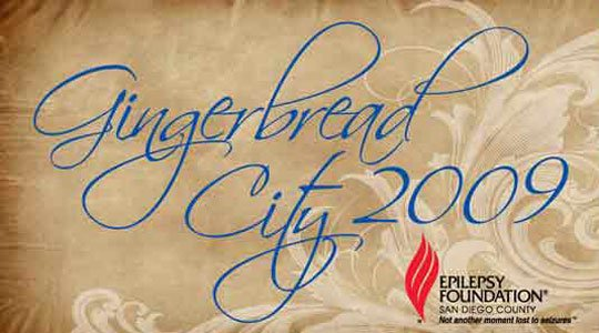 Graphic logo for the 2009 Gingerbread City Gala to benefit the Epilepsy Foundation in San Diego.