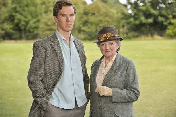 Benedict Cumberbatch as Luke Fitzwilliam and Julia McKenzie as Miss Marple.