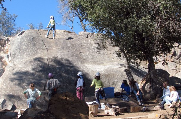 Rock climbing at Camp Cuyamaca is possible through corporate sponsorships with outdoor sporting equipment companies.