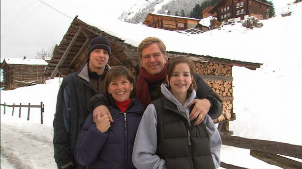 Rick Steves and family huddle together for the holidays in the alpine town of Gimmelwald, Switzerland.