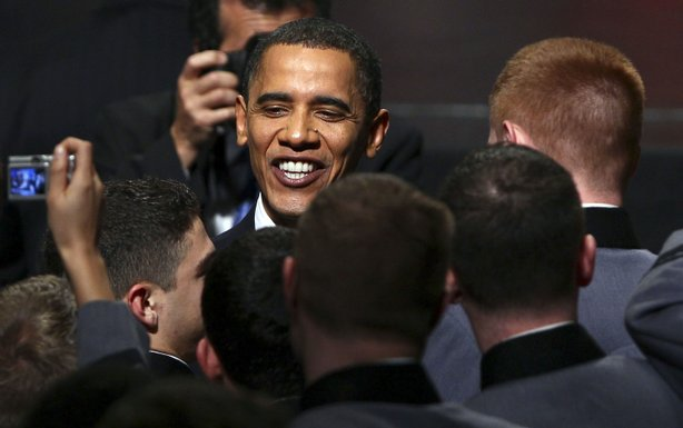U.S. President Barack Obama greets cadets after speaking at the U.S. Military Academy at West Point on December 1, 2009 in West Point, New York.