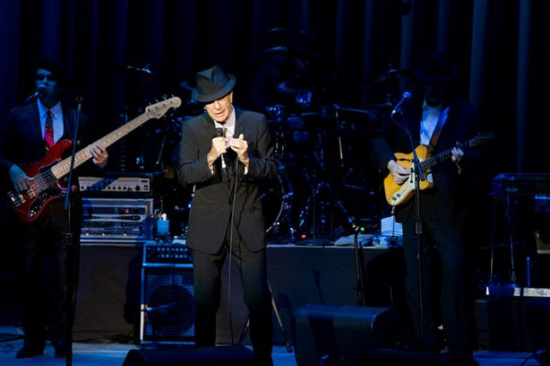 Influential singer/songwriter Leonard Cohen performs at London's 02 Arena during his 2008 UK tour.