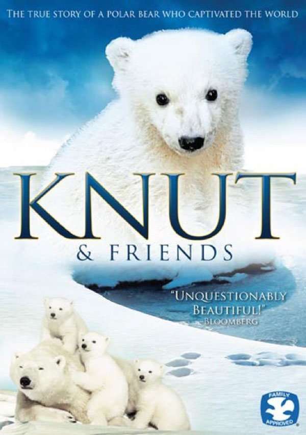 "Promotional graphic for the documentary ""Knut And Friends."" This film tells the emotional story of Knut the polar bear and his extraordinary young life."