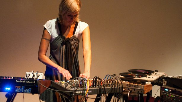 Experimental sound artist Margaret Noble at work.