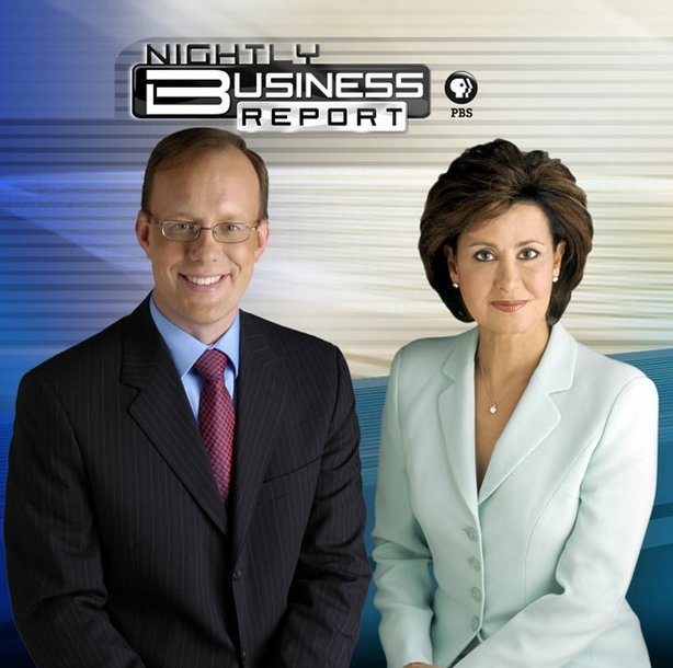 """Nightly Business Report"" anchors Susie Gharib and Tom Hudson"
