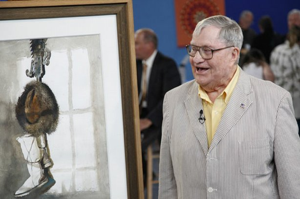 "At ""Antiques Roadshow"" in Raleigh, North Carolina, this guest is delighted to learn that his watercolor painting is an original piece, called the ""Trammel,"" by noted realist painter Andrew Wyeth. Bought in 1985, the painting has greatly appreciated over the last few decades — appraiser Nan Chisholm assigns the piece a realistic insurance value of $450,000."