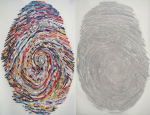 Artist Cheryl Sorg's thumbprint interpretation of Culture Lust's Angela Carone.