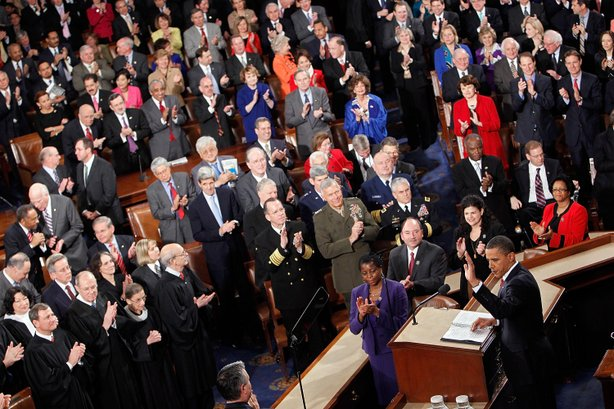 U.S. President Barack Obama speaks to both houses of Congress during his first State of the Union address at the U.S. Capitol on January 27, 2010 in Washington, DC.