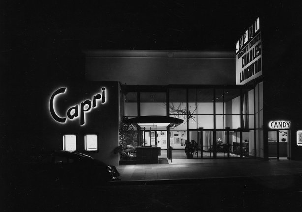 The Capri theatre, formerly on Park Boulevard in San Diego.  Photo by Julius Shulman.
