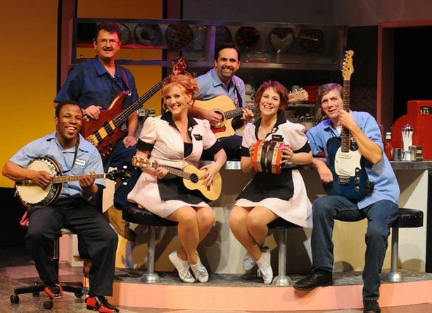 "Pictured (L-R): Leonard Patton, Oliver Shirley, Marci Anne Wuebben, Nick Spear, Season Duffy and Jim Mooney in ""Pump Boys and Dinettes."""