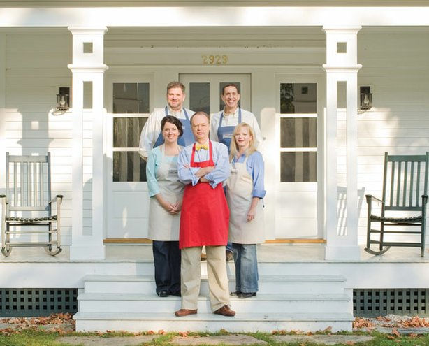 In a renovated 1806 farmhouse, the cast scientifically re-imagines family-friendly recipes for the modern home cook. Pictured, Christopher Kimball (center) flanked by cooks Erin McMurrer (left) and Bridget Lancaster (right) and equipment expert Adam Ried (upper left) and the Tasting Lab's Jack Bishop (upper right).