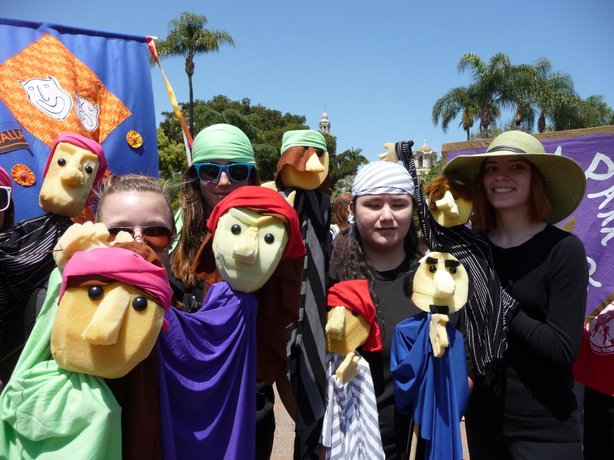 Valhalla High School students used puppets for their performance of a scene from &quot;The Tempest&quot; at teh 5th Annual San Diego Student Shakespeare Festival.