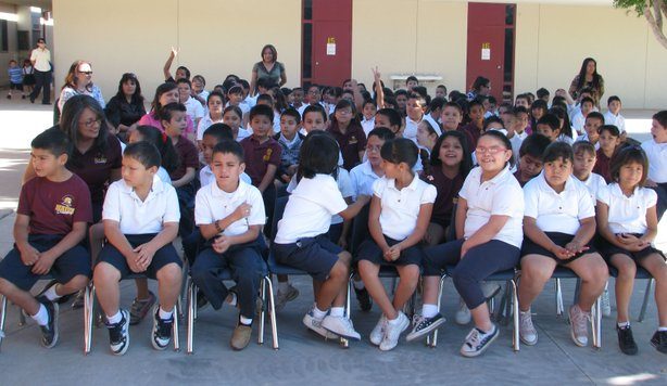 Students at Mains Elementary School were excited to return to school after a month-long break due to earthquake damage.