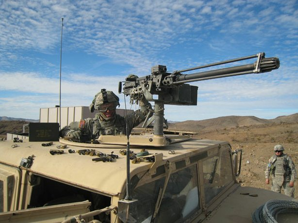 American infantry training in an uparmoured humvee; Fort Irwin, California.