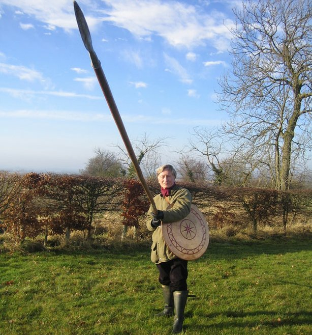 Mark Corby with a Macedonian spear.