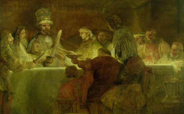 "Rembrandt Harmenszoon van Rijn's ""The Conspiracy of the Batavians under Claudius Civilis,"" c.1666 (Oil on canvas)"
