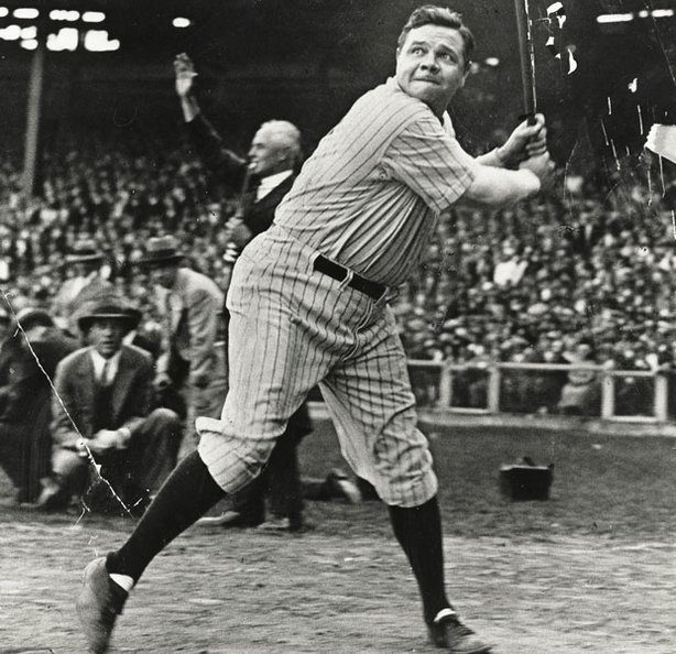Baseball legend Babe Ruth at bat.