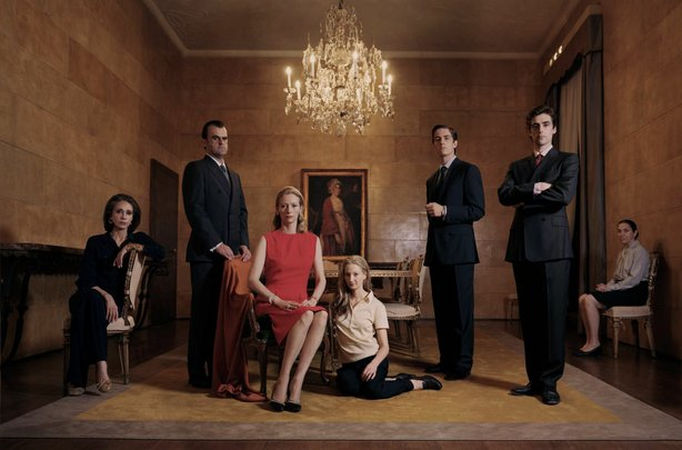 "Tilda Swinton (in red) is the matriarch of a wealthy Italian family in ""I Am Love"""