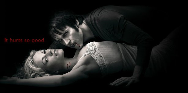 Sookie Stackhouse (Anna Paquin) and Bill Compton (Stephen Moyer) in HBO&#39;s &quot;True Blood.&quot;