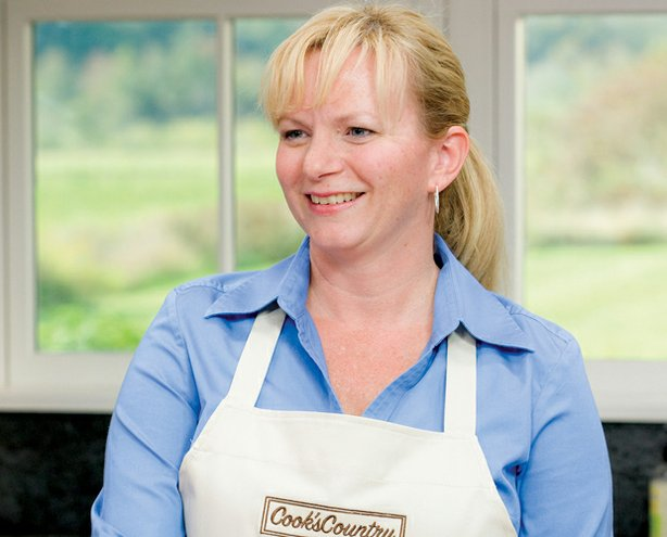 Cook Bridget Lancaster in the kitchen ready to show host Christopher Kimball how to make a Texas favorite — shredded barbecued beef.