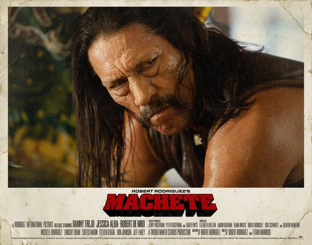 "Here's the attention to detail you get from Robert Rodriguez, he has even had 70s style lobby cards made to promote ""Machete."""