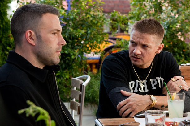 "Ben Affleck and Jeremy Renner are bank robbers in ""The Town."""