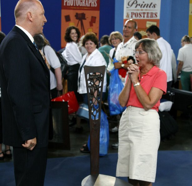 At ANTIQUES ROADSHOW in Philadelphia, Pennsylvania, appraiser John Sollo of David Rago Auctions discovers this mahogany chair by famous eccentric Arts and Crafts maker Charles Rohlf. One of only four known to exist in this style, the chair blurs the boundary between furniture and art. Sollo stuns the owner, who clearly needs a seat after she learns the chair is valued at $80,000-$120,000 at auction.