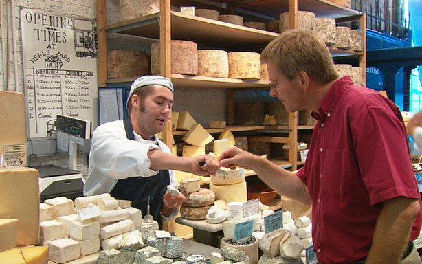 Rick Steves visits a cheese shop in Neal's Yard, London, England.